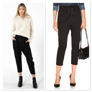 NWT Nili Lotan Black Avery Lace Up Crop Pants 4